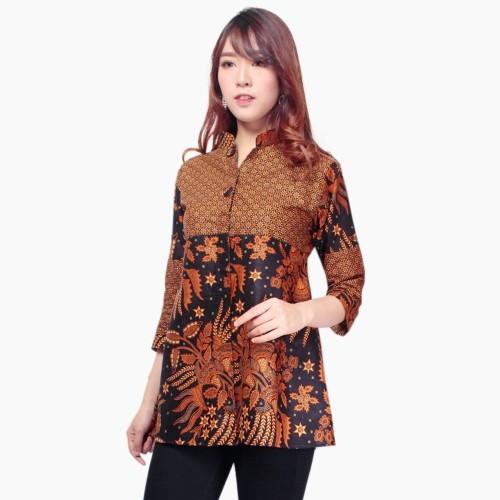 Foto Produk Atasan Kemeja Quita Blouse Lengan Panjang Batik Modern Wanita - Cokelat, M dari holy Beauty