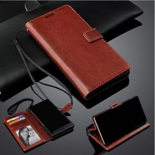 Foto Produk Xiaomi Redmi Note 7 Leather Case Casing Kulit Flip Wallet Cover - Cokelat dari JIFICICELL