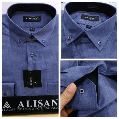 Foto Produk kemeja Alisan motif panjang Kombinasi Slim fit - biru jeans, XL dari PAS MANTAFFF