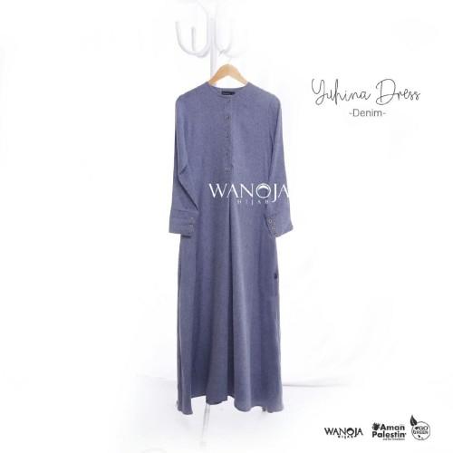 Foto Produk YUHINA DRESS WANOJA DENIM - GAMIS SYARI MADINAH COTTON TERBARU NYAMAN - Denim, XS dari 2L HIJABB