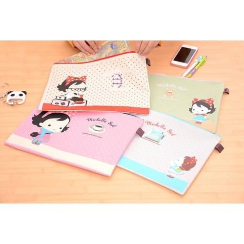 Foto Produk PF16 Michelle Girl Portable A4 file Storage Pouch Bag Tempat Buku - Merah dari EnnWen Online Store