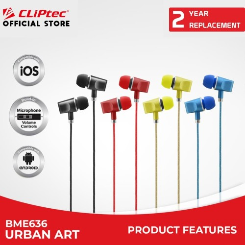 Foto Produk [FS] CLIPtec BME636 / Urban Art / In-Ear Earphone / With Microphone - Biru dari CLIPTEC OFFICIAL STORE