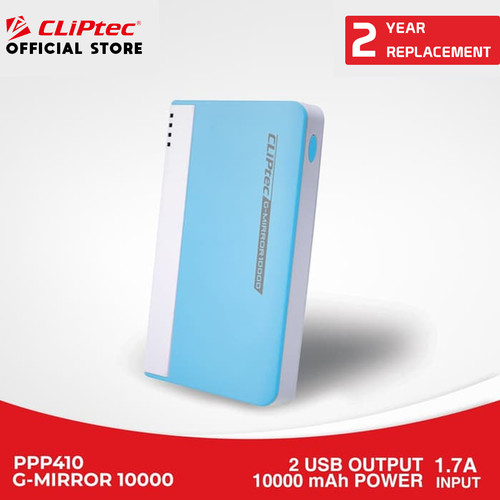 Foto Produk CLIPtec PPP 410 - G Mirror Portable Charger | Power Bank Murah promo - Blue dari CLIPTEC OFFICIAL STORE