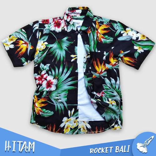 Foto Produk Kemeja Bunga Pakaian Wanita - Kemeja Bunga Lengan Pendek - Baju Hawai - Hitam, M dari Rocket Bali