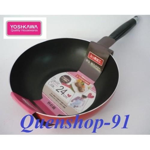 Foto Produk YOSHIKAWA Teflon / Wajan Tumis 24 CM Wok Pan XC-240-01 MERAH dari Quenshop-91
