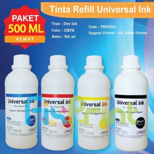 Foto Produk Tinta Universal Ink 500ml Refill Infus Printer Canon Epson HP Brother - Hitam dari FixPrint Jakarta
