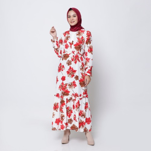 "Foto Produk Hijab Ellysha ""SPECIAL EDITION"" CLAUDIA LEAF WRINKE DRESS WHITE dari Hijab Ellysha Official"