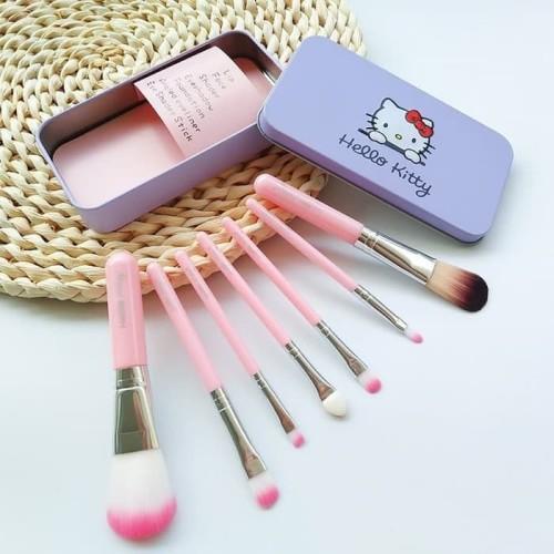 Foto Produk Set hello Kitty Makeup Brush 7pcs Paket Set Kuas Make Up brush set dari serba grosir murah