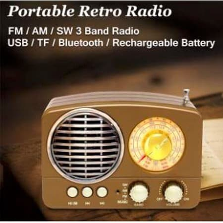 Foto Produk Radio Vintage USB AUX Micro SD Bluetood MP3 FM/AM dari BELIBARANGYUK