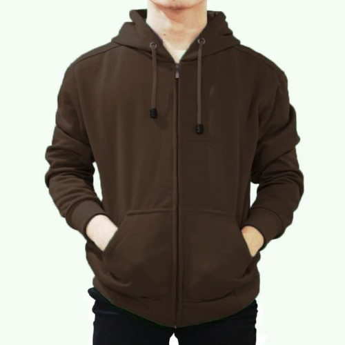 Foto Produk Jaket Sweater Hoodie Zipper Cokelat Pria Wanita - ZIPPER COKLAT, M dari DELDICK_OLSHOP