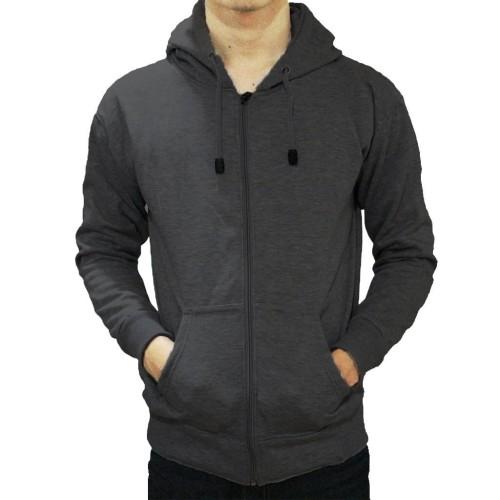 Foto Produk Jaket Sweater Hoodie Zipper Abu Tua Pria Wanita - ZIPPER ABU TUA, M dari DELDICK_OLSHOP