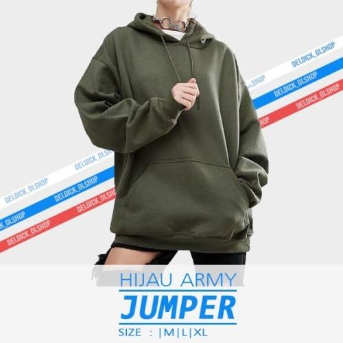 Foto Produk Sweater Hoodie Jumper Polos HIJAU ARMY dari DELDICK_OLSHOP