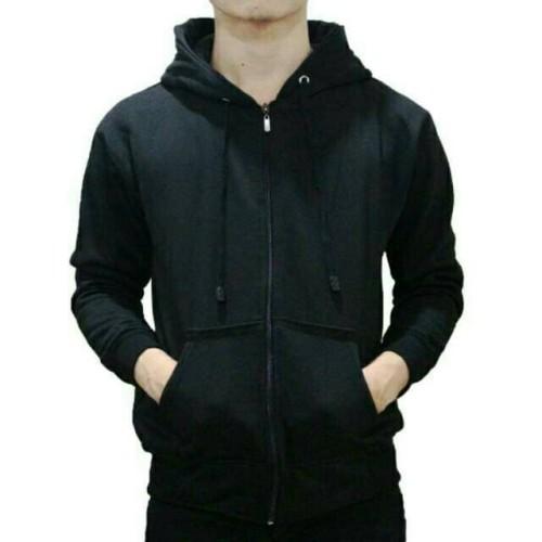 Foto Produk Jaket Sweater Hoodie Zipper Hitam Pria Wanita - ZIPPER HITAM, M dari DELDICK_OLSHOP