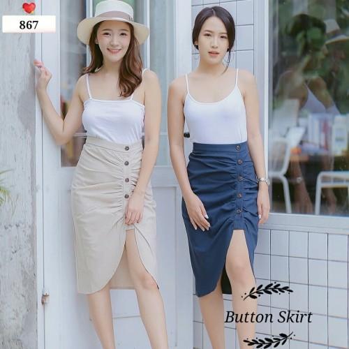Foto Produk 867 Button Skirt - Creme dari fashion_tnabang