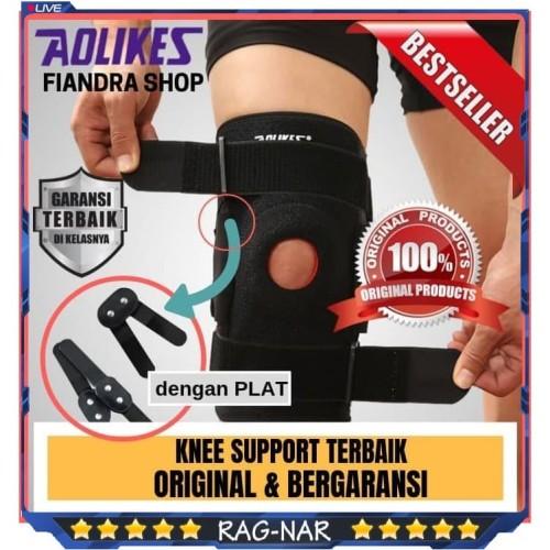 Foto Produk AOLIKES Knee Support 7907 Penyangga Lutut Knee 4 Strap Alumunium Plate - L dari Rag-Nar