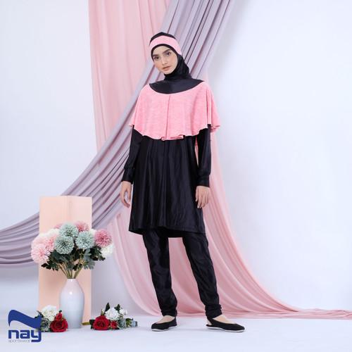 Foto Produk Baju Renang Muslimah - Khirani Swimwear Black-Pink - S dari Nay Sportswear