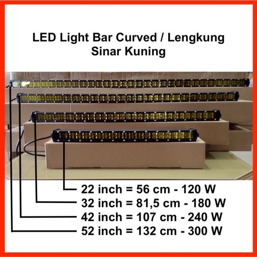 "Foto Produk LED Light Bar Slim 52"" 300W Curved / Lengkung Sinar Kuning dari Metro Star Online"