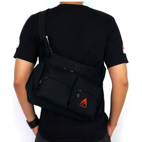 Foto Produk Tas Selempang Pria Wanita GM909 Tas Gaul Selempang Notebook - Black dari Juragan Tas Import