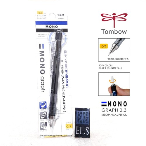 Foto Produk Tombow Mono Graph 0.3 / Pensil Mekanik 0.3 - Black Body dari eLs_shop