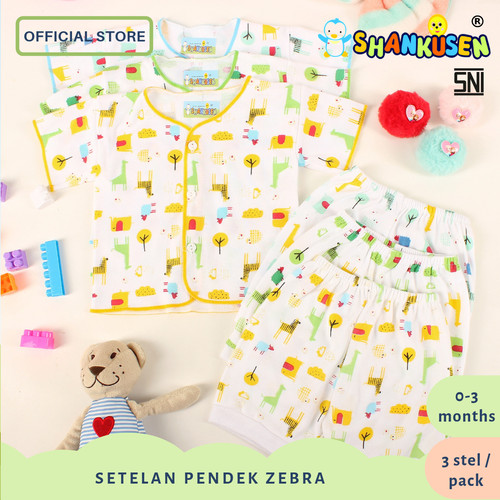 Foto Produk 3 Set Setelan Pendek Baju Bayi Shankusen Zebra & Giraffe (3 pasang) dari Shankusen Baby Official