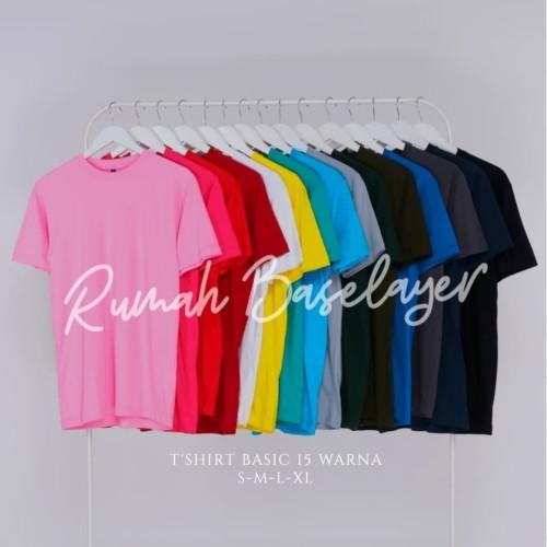 Foto Produk Kaos Polos Baju Oblong Warna Banyak Combed 30's Pria Wanita Unisex - KAOSPLS HITAM, S dari Rumah Baselayer