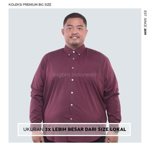 Foto Produk Kemeja Big Size Pria BIG BRO Ukuran Besar Jumbo XXL XXXL Maroon Long - XL dari BIG BRO Indonesia