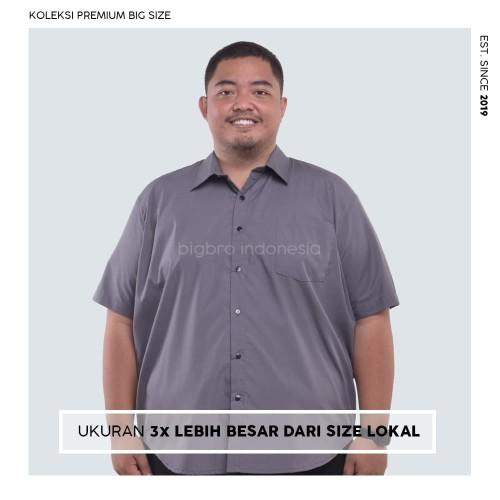 Foto Produk Kemeja Big Size Pria BIG BRO Ukuran Besar Jumbo XXL XXXL Abu Pendek - XXXL dari BIG BRO Indonesia