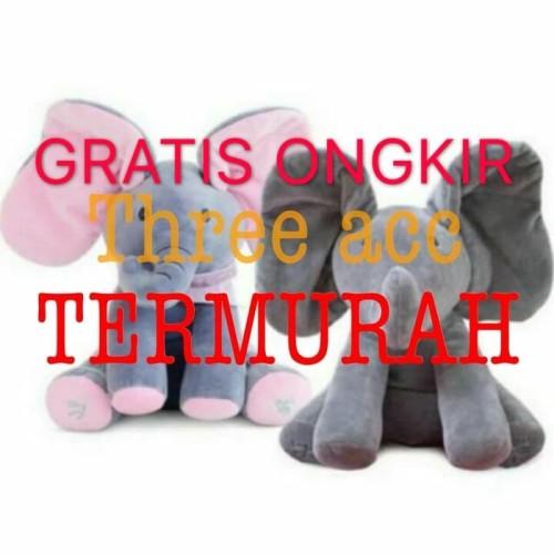 Foto Produk READY Sing & Peek a Boo Elephant Doll Boneka Gajah Cilukba & Nyanyi - ABU ABU dari Three Acc