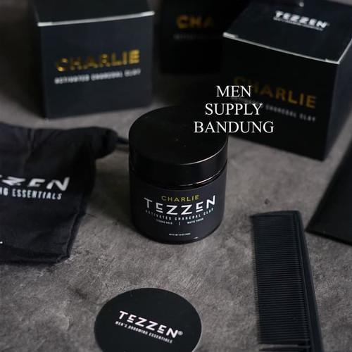 Foto Produk Pomade Tezzen Charlie Activated Charcoal Clay FREE SISIR CARBON dari PT. Men Supply Bandung