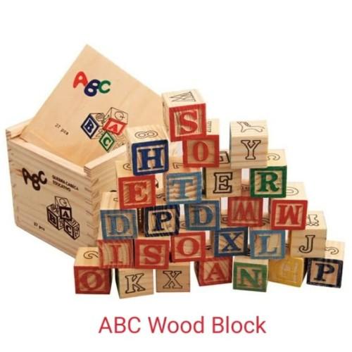 Foto Produk Mainan Edukasi Anak Kotak Block Kayu Alfabet - ABC WOOD BLOCK 27pcs dari lovely kayy
