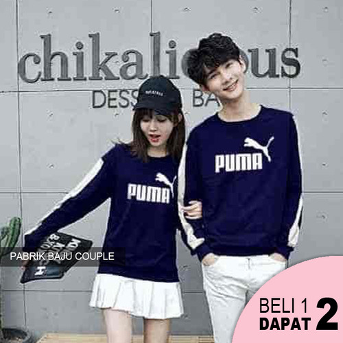 Foto Produk XL Sweater Couple Puma List Babyterry - NAVY dari Pabrik Baju Couple
