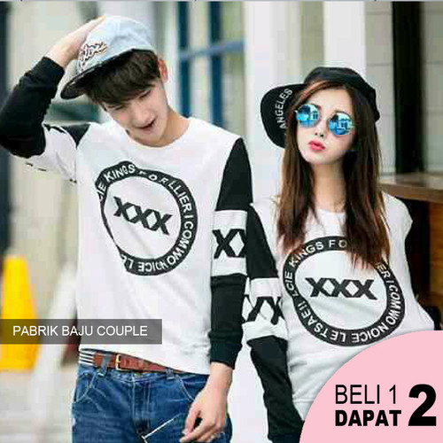Foto Produk Sweater Couple cp Korea Triple X / XXX babyterry - HITAM dari Pabrik Baju Couple