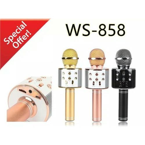 Foto Produk Mic Karaoke Mikrofon Wireless Bluetooth WSTER WS 858 WS-858 Mic Smule dari toko aneka grosir bdg