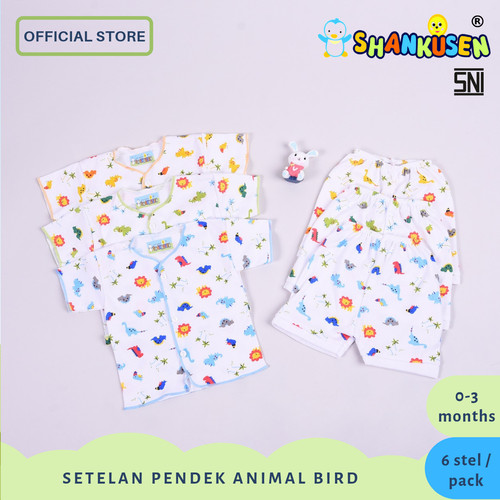Foto Produk 6 Pasang Setelan Baju Bayi Pendek Shankusen Animal Bird (1/2 lusin) dari Shankusen Baby Official