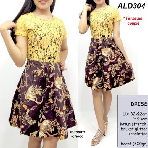 Foto Produk Dress Batik Pesta Wanita Modern Midi Lace Katun Brukat Glitter ALD304 dari Gold Ponsel