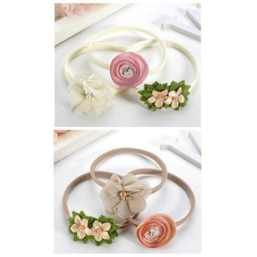 Foto Produk Set Bandana Bayi Elastis 3 Pcs Motif Bunga Flower Baby Headband - tali coklat dari Lilpanda_onlineshop