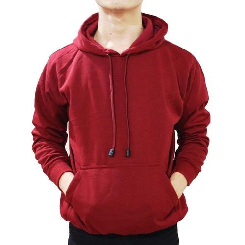 Foto Produk (PROMO) Hoodie Jumper Sweater Polos Maroon - Maroon, M dari Hoodie Center