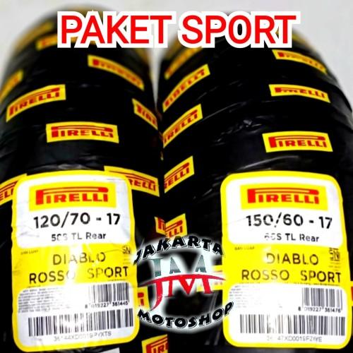 Foto Produk PAKET Ban Pirelli Diablo Rosso Sport 120/70 & 150/60 Ring 17 Ninja CBR dari Jakarta Motoshop