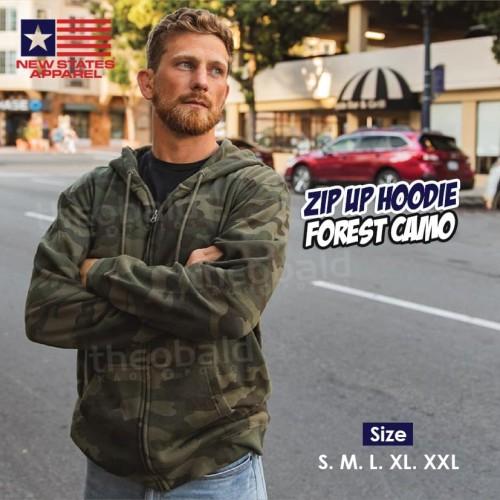 Foto Produk New States Apparel 9600 JAKET ZIP Hoodie FOREST CAMO Size S M L XL XXL - Forest Camo, S dari Kaos Polos Theobald