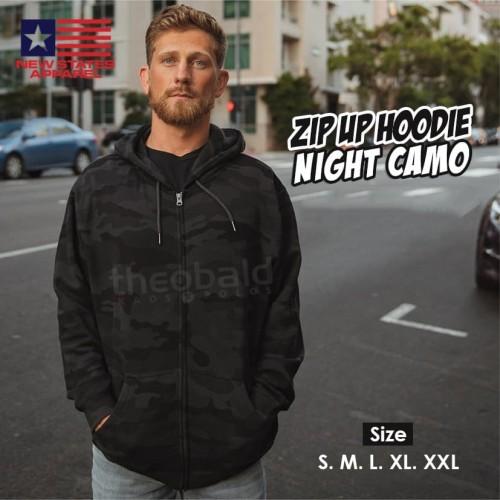 Foto Produk New States Apparel 9600 JAKET ZIP Hoodie NIGHT CAMO Size, S M L XL XXL - Night Camo, S dari Kaos Polos Theobald