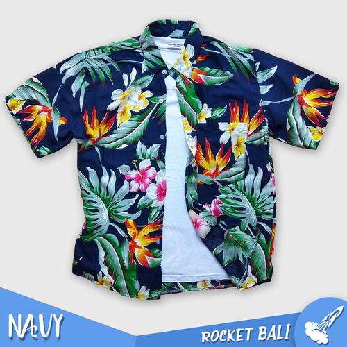 Foto Produk Baju Motif Bunga - Kemeja Hawaii - Kemeja Hawai Wanita - Kemeja Hawai - Navy, M dari Rocket Bali