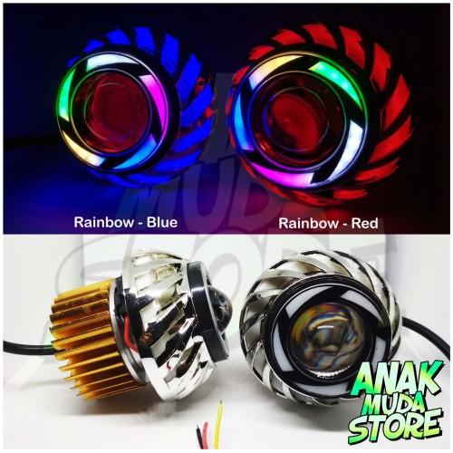 Foto Produk Lampu Projie LED Lampu Depan Motor Proji Spiral Rainbow Kedip Running - Biru dari anakmudastore93