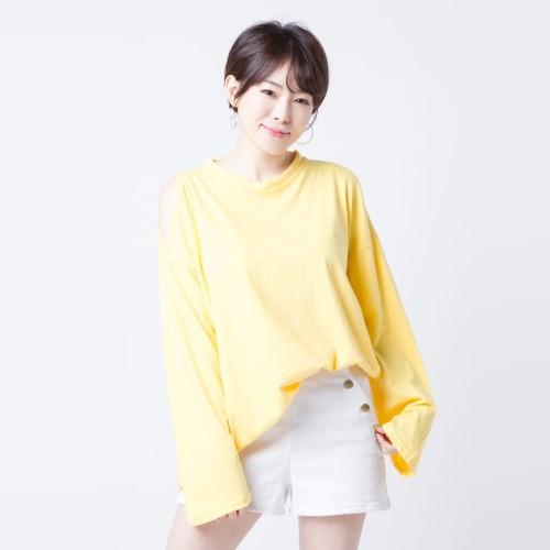 Foto Produk Kaos Cold Shoulder Lengan Panjang Merongshop Yellow dari merongshop