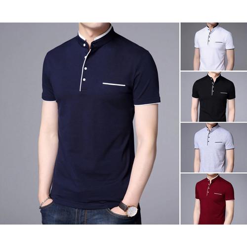 Foto Produk Kaos Polo Shirt Pria Polos | Baju Cowok Polo Kerah Shanghai - Dyrgo - Navy, S dari Rumah Soccer ID