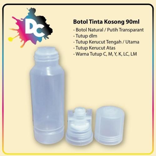 Foto Produk Botol Tinta 90ml, Botol Tinta Bening, Botol Tinta Refill Printer Epson dari Dunia Cetak