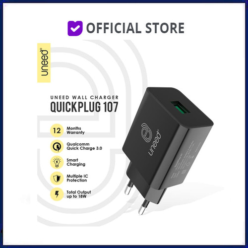 Foto Produk UNEED Quickplug Wall Charger Qualcomm Quick Charge 3.0 - UCH107 dari DUNIA COMPUTER & SERVICE
