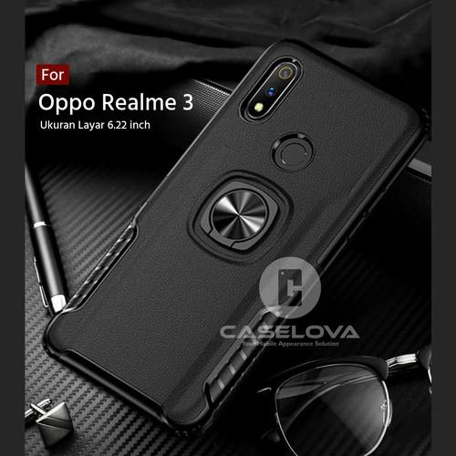 Foto Produk Case Oppo Realme 3 ( 6.22 inch ) Hardcase Ring Carbon Thunder - Hitam dari Caselova Store