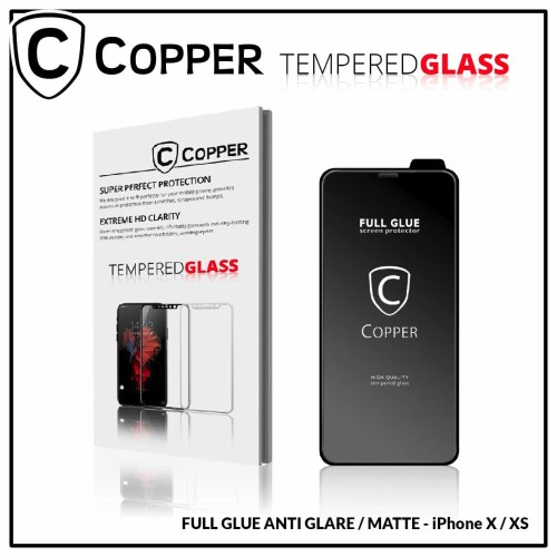 Foto Produk Iphone x/xs - COPPER Tempered Glass Full Glue ANTI GLARE / MATTE dari Copper Indonesia
