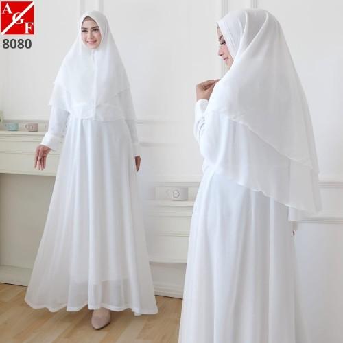Foto Produk Baju Gamis Wanita / Gamis Putih / Muslim Wanita #8080 STD - Putih, M dari Agnes Fashion88