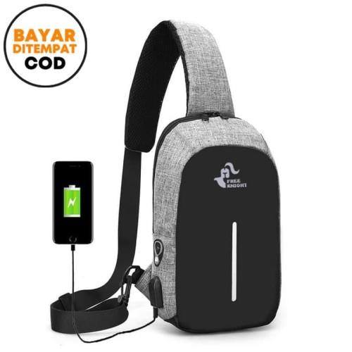 Foto Produk FREEKNIGHT Tas Selempang Anti Maling Anti Air Sling Bag USB TCS01 - Ungu dari Freeknight